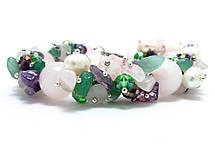 Набір прикрас. Сережки, браслет, намисто. Мікс Рожевий кварц. 12мм, фото 2