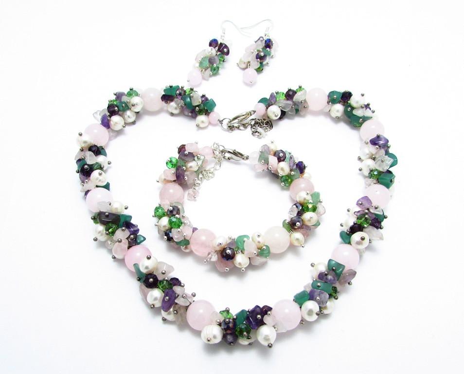 Набір прикрас. Сережки, браслет, намисто. Мікс Рожевий кварц. 12мм