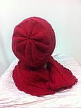 молодежный комплект шапка и шарф красного цвета, фото 2