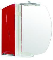 Зеркало Аква Родос Премиум 75 см с подсветкой и пеналом слева красное