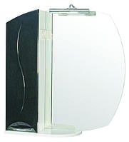 Зеркало Аква Родос Премиум 75 см с подсветкой и пеналом слева черное