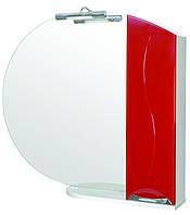 Зеркало Аква Родос Премиум 95 см с подсветкой и пеналом справа красное