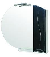 Зеркало Аква Родос Премиум 95 см с подсветкой и пеналом справа черное
