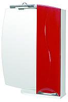 Зеркало Аква Родос Премиум 65 см с подсветкой и пеналом справа красное