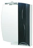 Зеркало Аква Родос Премиум 65 см с подсветкой и пеналом справа черное