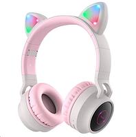 Беспроводные MP3 Наушники с Ушками с подсветкой с MicroSD накладные HOCO W27 Bluetooth Розово-Серый