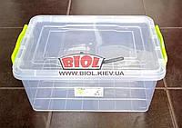 Контейнер 9,5л пищевой 375х255х166мм пластиковый прямоугольный с ручками, крышкой Lux №07 Ал-Пластик