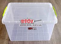 Контейнер 23л пищевой 450х312х250мм пластиковый прямоугольный с ручками, крышкой Lux №09 Ал-Пластик