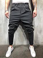 Брюки мужские темно-серые лёгкие зауженные к низу летние брюки мужские серые свободные зауженные книзу