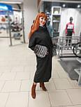 Стильне зимове жіноче пальто з манжетами з чорнобурки Ricco Рів'єра, фото 5