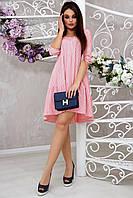 Летнее женское розовое платье в горох повседневное свободного кроя стильное красивое модное молодёжное
