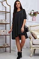Летнее женское чёрное платье в горох повседневное свободного кроя стильное красивое модное молодёжное