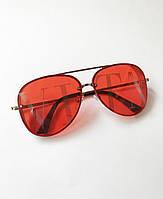 Стильные женские солнцезащитные очки, авиаторы в красной оправе