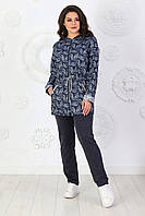 Демисезонный женский костюм стрейч-жаккард + трикотаж двунитка размеры 50-56