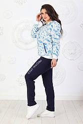 Стильный демисезонный женский повседневный костюмчик из трикотажа и Льна