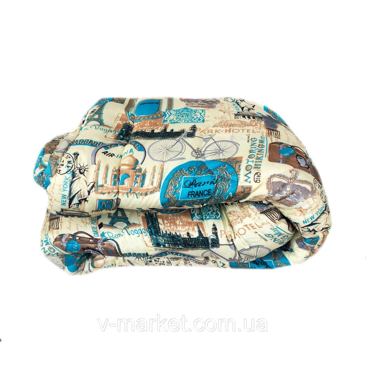 Ковдра двоспальне холлофайбер СТАНДАРТ, тканина бязь (полікотон)