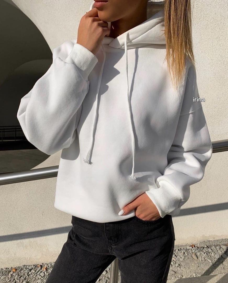 Стильное женское худи с капюшоном, белый