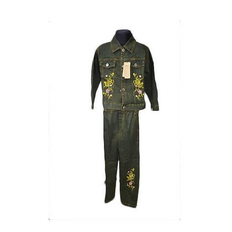 Детский зеленый джинсовый костюм, фото 2