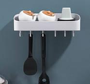 Полка для ванной комнаты с крючками (молочный), фото 2