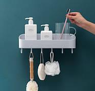 Полка для ванной комнаты с крючками (молочный), фото 4