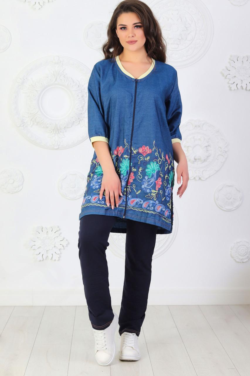 Повсякденний жіночий трикотажний костюмчик: джинсова туніка і штани з трикотажу розміри 48-62