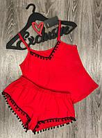 Красная пижама майка и шорты с черными помпонами из вискозы 012.