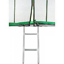 Батут Atleto 490 см з подвійними ногами з сіткою зелений (3 місця), фото 2