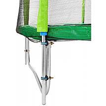 Батут Atleto 490 см з подвійними ногами з сіткою зелений (3 місця), фото 3