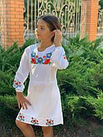 Детское платье Вышиванка белое сарафан украинская вышиванка размер:122,128,134,140
