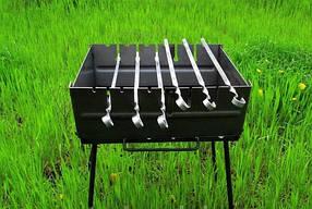 Мангал-чемодан на 6 шампуров + 6 шампуров (60:10:2) складной-2 мм, двухуровневый ВЕЕР В ПОДАРОК