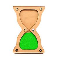 Заготовка Деревянные ПЕСОЧНЫЕ ЧАСЫ 8 см для бизиборда Комплект +Песок Дерев'яний Пісочний годинник бізіборда Зелёный