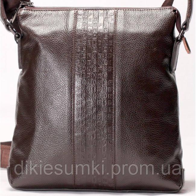 3e114e5dc8a3 Мужская сумка на плече в стиле Fendi кожаная коричневого цвета - Интернет  магазин - Дикие сумки