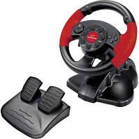 Игровой руль Esperanza для ПК, компьютера, PC, PS1, PS2, PS3 с педалями, black-red, черно-красный