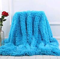 Плед покрывало меховое Травка Мишка Страус Пушистик на кровать размер (евро), на подарок на свадьбу, юбилей