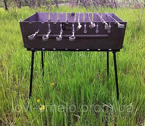 Мангал-чемодан на 10 шампуров + 10 шампуров (60:10:2) складной-2 мм, двухуровневый ВЕЕР В ПОДАРОК
