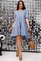 Летнее женское голубое платье повседневное свободного кроя стильное красивое модное молодёжное асимметричное