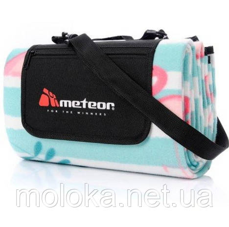 Коврик для пикника и пляжа водонепроницаемый Meteor Flamingo 120х135 см, мятный с фламинго