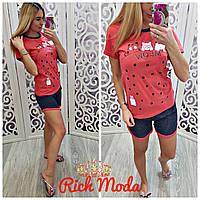 Пижама костюм с шортами для дома и улицы с котами красная Л(46-48)