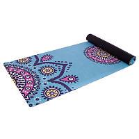 Коврик для йоги Замшевый каучуковый двухслойный 3мм Record FI-5662-56 (размер 1,83мx0,61мx3мм, голубой-розовый
