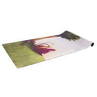 Классный коврик для йоги замшевый каучуковый двухслойный 3мм Record FI-5662-49 размер 1,83мx0,61мx3мм, зеленый