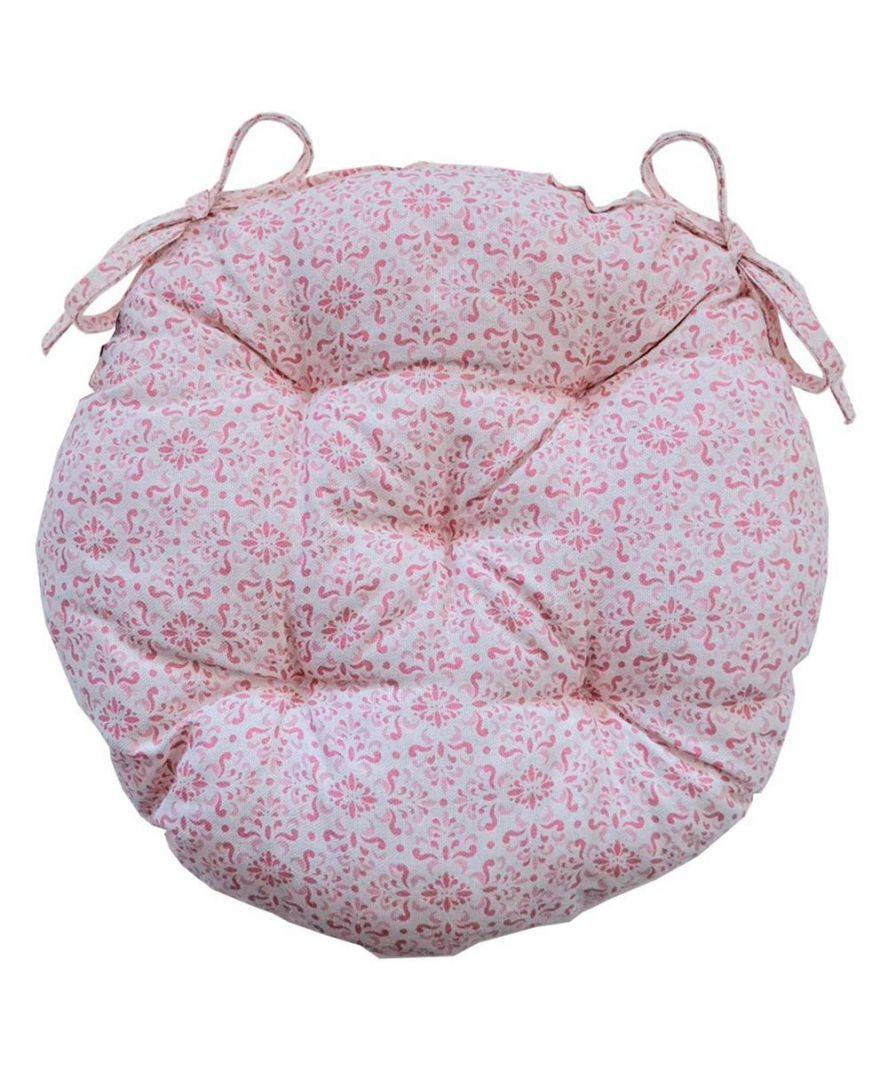 Подушка круглая на стул табурет Bella розовый витраж