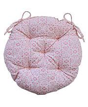 Подушка кругла на стілець табурет Bella рожевий вітраж