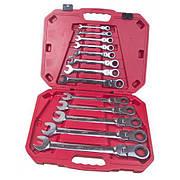 Набір ключів комбінованих, тріскачкових  13 предметів,  8-32 мм. Alloid