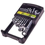 Набір ключів комбінованих тріскачковий та карданом 11 предметів , 8-19мм. Alloid