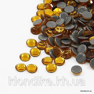 Стразы Термоклеевые, Стекло, Круглые, Граненые, Класс AA, 2.7~2.8 мм, Цвет: Топаз (144 шт.)