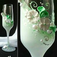 🔥 Распродажа! Свадебные фужеры в мятном цвете 200 мл украшены лепкой №2103