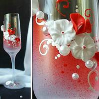 🔥 Распродажа! Красивые свадебные бокалы красного цвета 200 мл ручной работы №2109