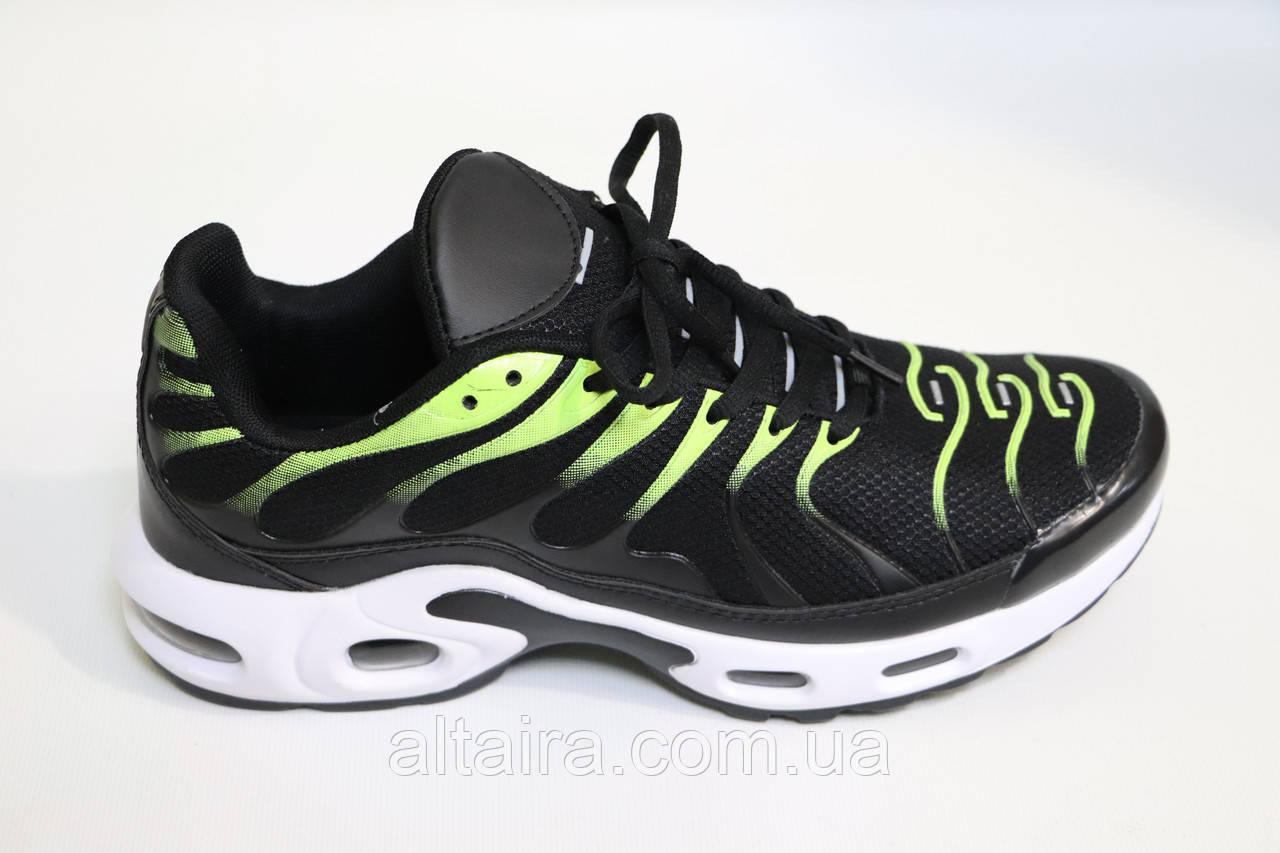 Мужские кроссовки сетка, черные с ярко-салатовыми вставками. Чоловічі кросівки сітка, чорні з салатовим