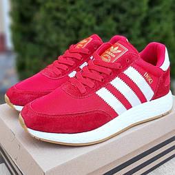 Женские кроссовки Adidas Iniki Runner Red красные. Живое фото. Реплика