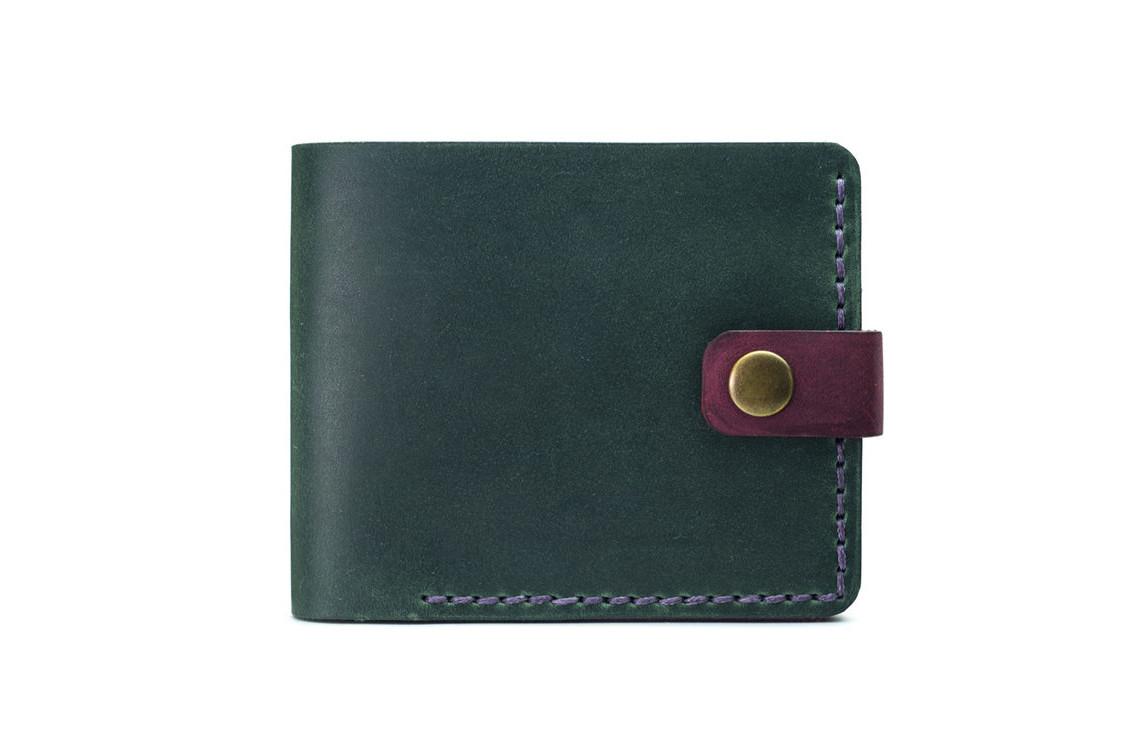 Кожаный женский кошелек Compact зеленый-марсала